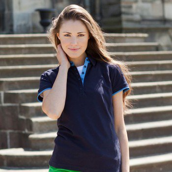 Ladies Contrast Polo Shirt