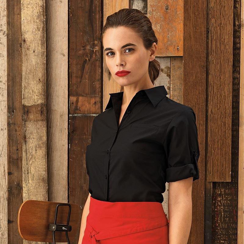 005918855e9a9 Premier Workwear Ladies Roll Sleeve Poplin Shirt (PR306)