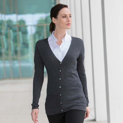 ad0a75d5f2 Ladies V-Neck Button Pocket Cardigan