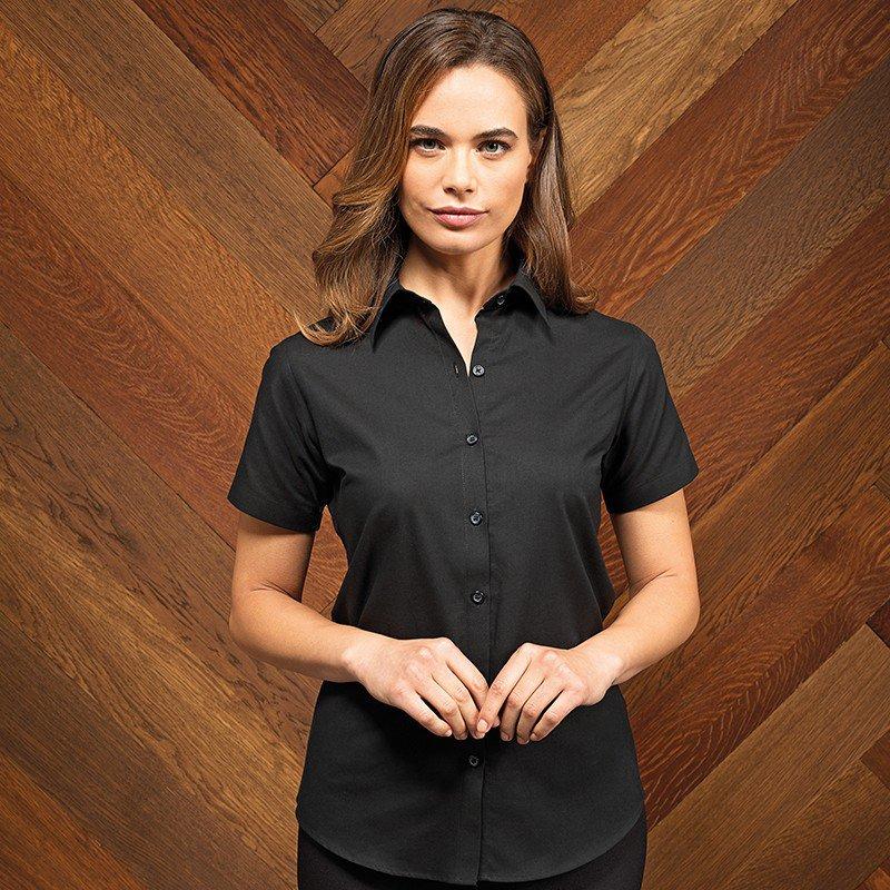 150f1491bec6d4 Premier Workwear Signature Oxford Ladies Short Sleeve Blouse (PR336)