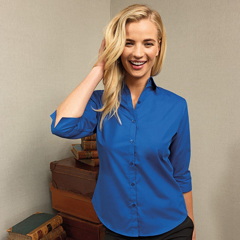 Premier Workwear Womens 3//4 Sleeve Poplin Blouse