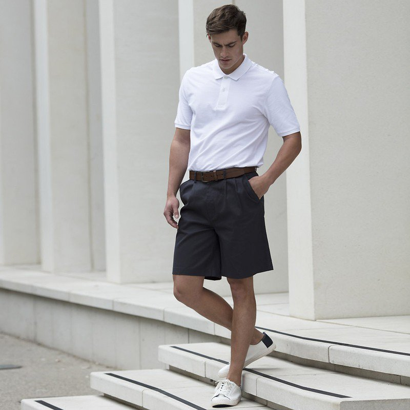 Henbury Teflon Coated Double Pleat Front Chino Shorts H605 Regular Half Pants
