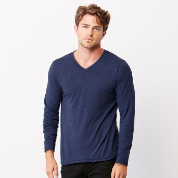 Unisex Long Sleeve V-Neck Tee