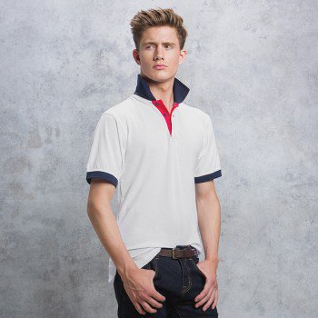 Contrast Collar and Placket Polo