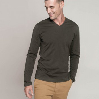 Mens Long Sleeved V-Neck T-Shirt
